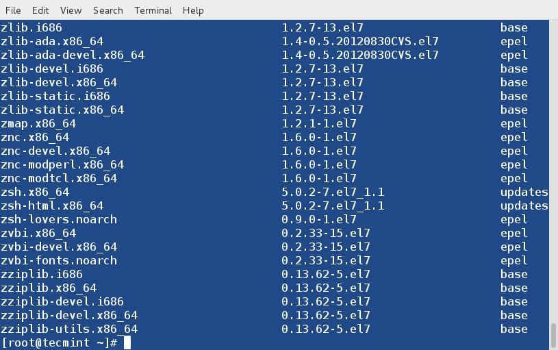 用DNF列出所有的软件包