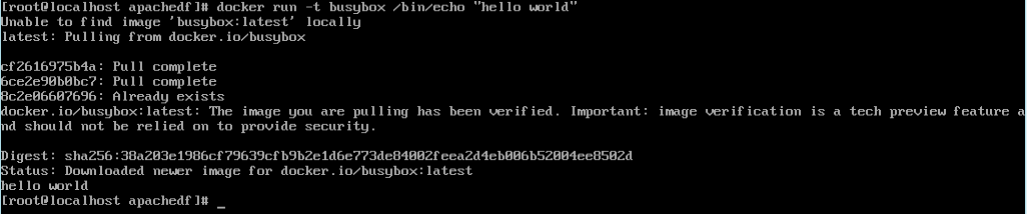 Hello world with Busybox