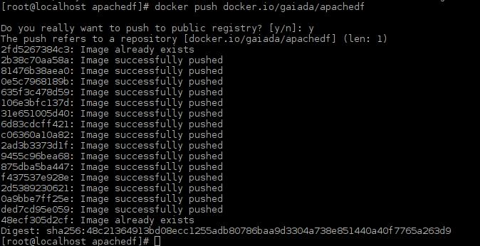 Docker push Apache image complete