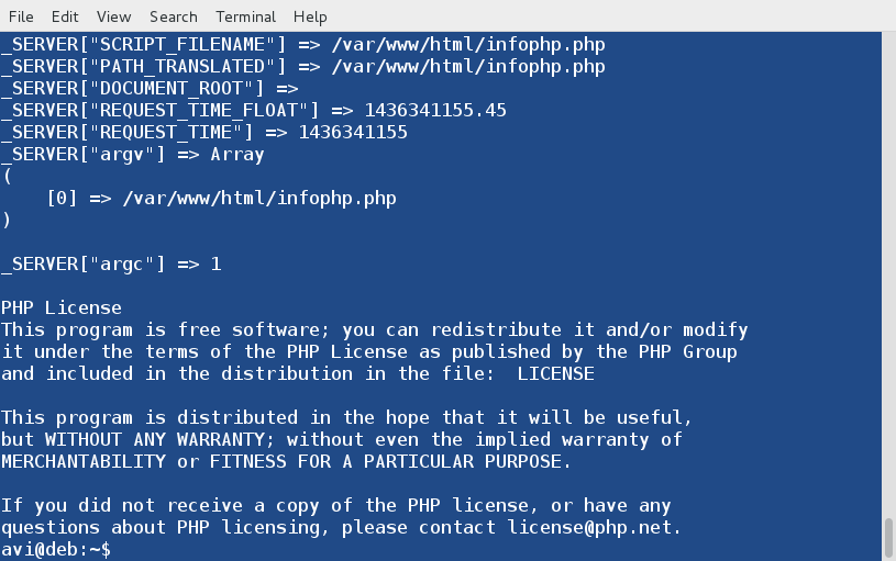 Check PHP info from Commandline