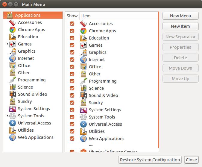 Ubuntu 下的 main menu