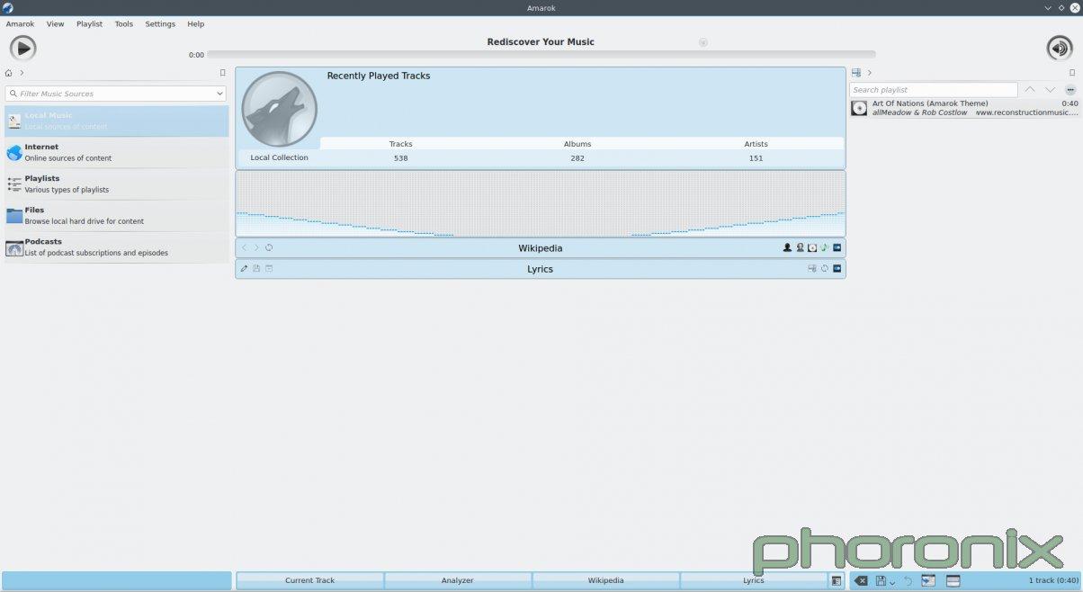 KDE 的 Amarok 播放器