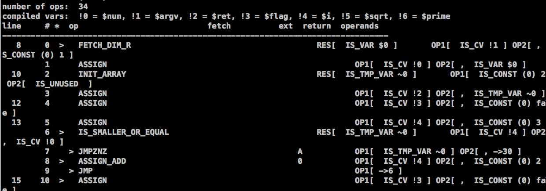 图6、vld 扩展反编译出来的PHP代码的字节码