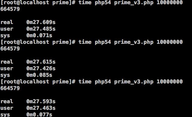 图13、在PHP 5.4中,筛选法求素数的效率