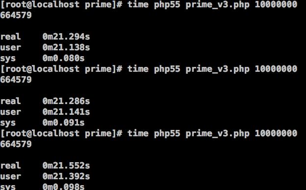 图14、在PHP 5.5中,筛选法求素数的效率