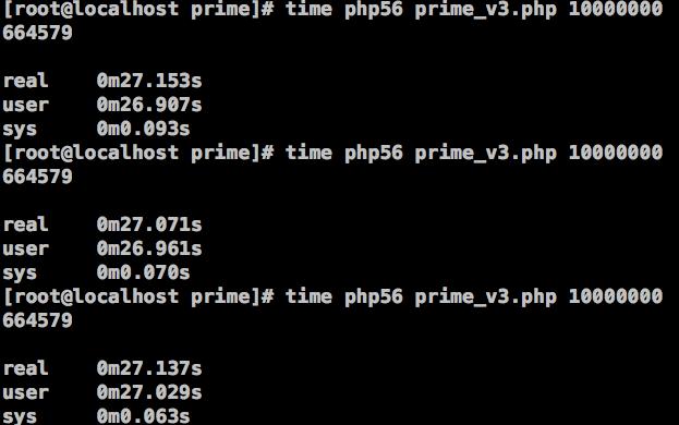 图15、在PHP 5.6中,筛选法求素数的效率