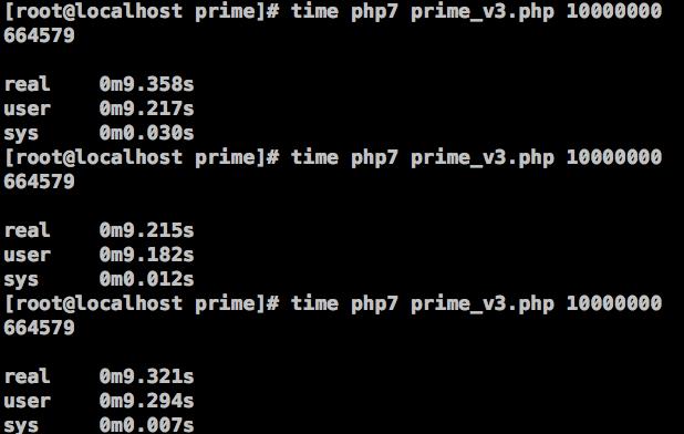 图16、在PHP 7中,筛选法求素数的效率