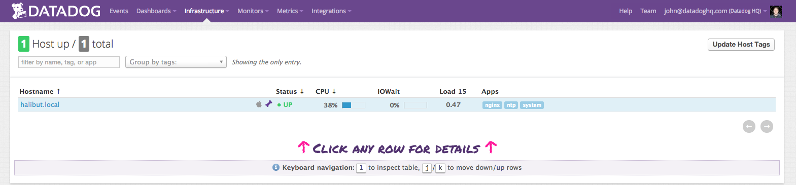 Datadog infrastructure list