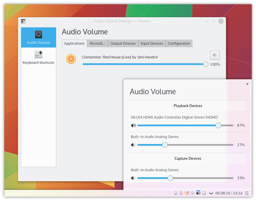 The new Audio Volume Applet