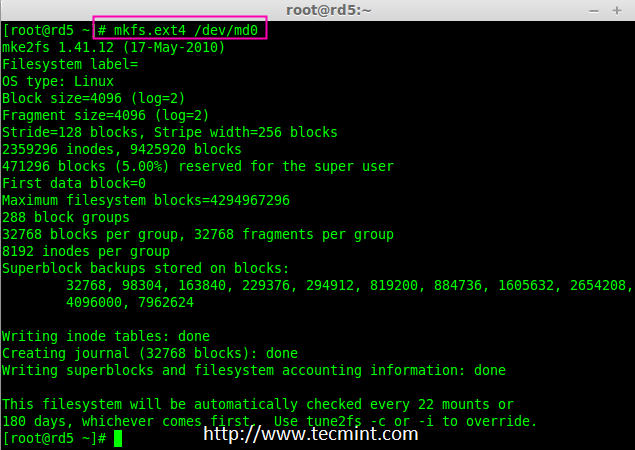 Create md0 Filesystem