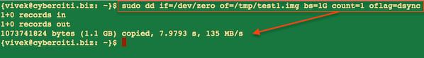 Fig.01: Ubuntu Linux Server with RAID10 and testing server throughput with dd