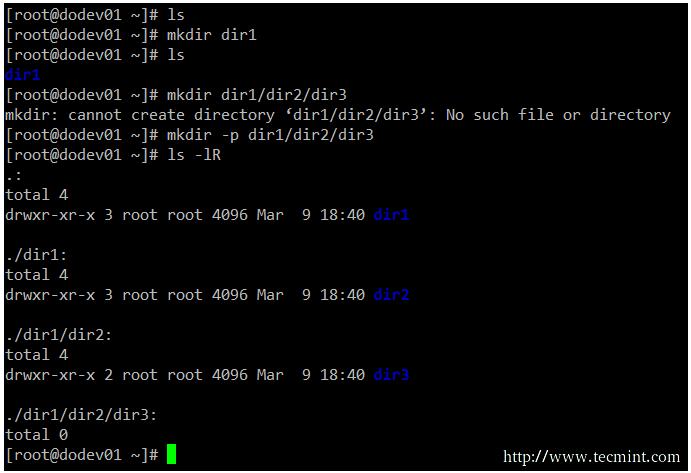mkdir command example