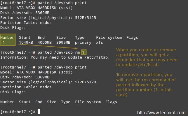 在 Linux 中移除分区