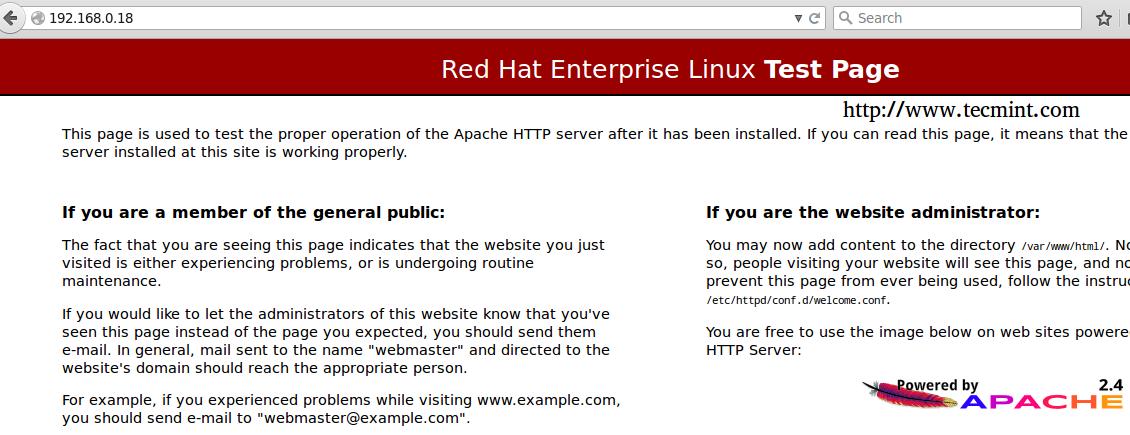 确认 Apache Web 服务器