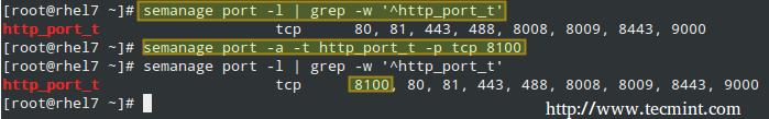 添加 Apache 端口到 SELinux 策略