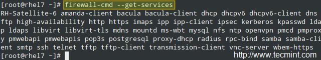 列出所有受支持的服务