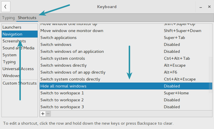 Shortcut keys in GNOME 3