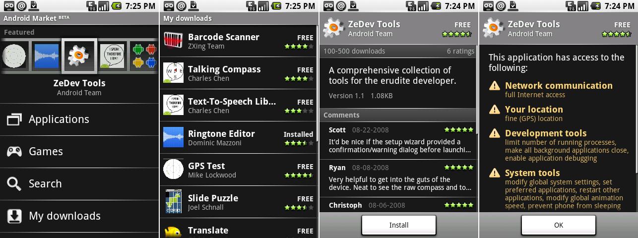 """第一个安卓市场客户端。截图展示了主页,""""我的下载"""",一个应用页面,以及一个应用权限页面。"""