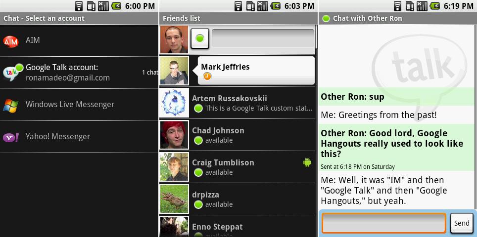 即时通讯应用。截图展示了服务提供商选择界面,朋友列表,以及一个对话。