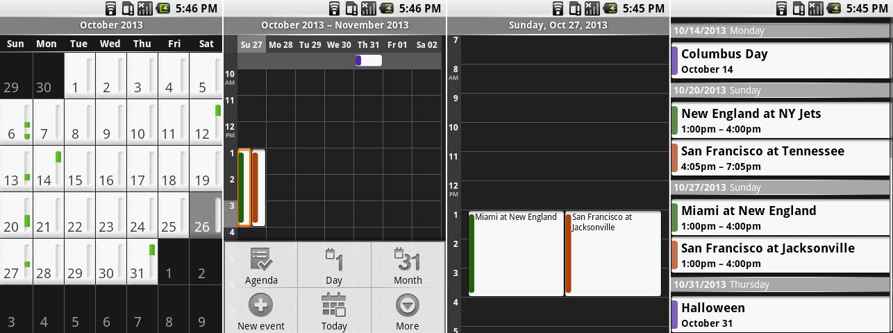 日历的月视图,打开菜单的周视图,日视图,以及日程。