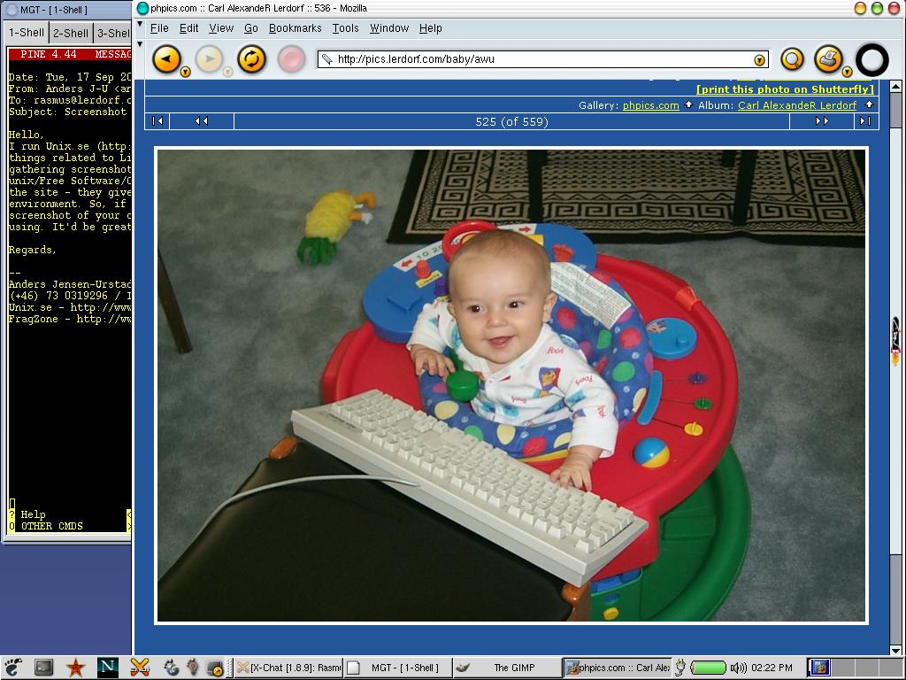 Rasmus Lerdorf的电脑桌面,截图于2002年9月