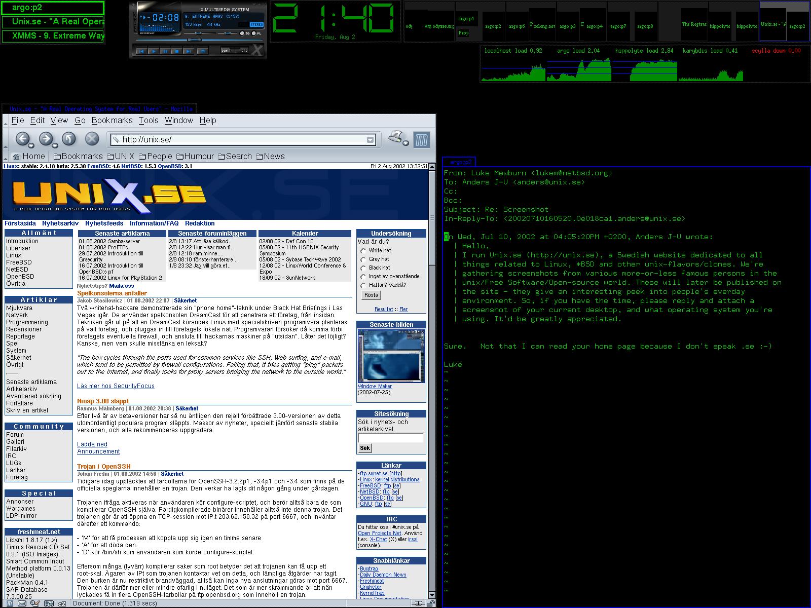 Luke Mewburn的电脑桌面,截图于2002年8月