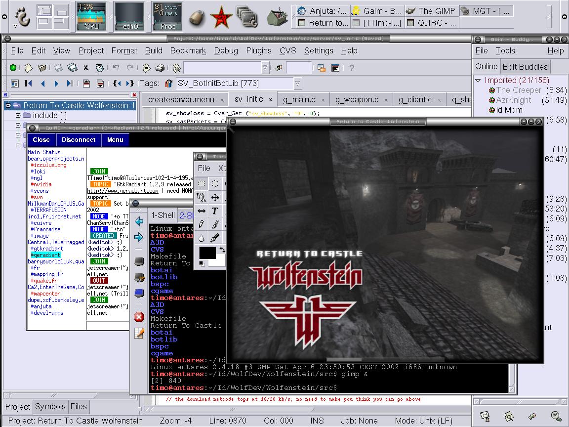 Luke Mewburn的电脑桌面,截图于2002年7月