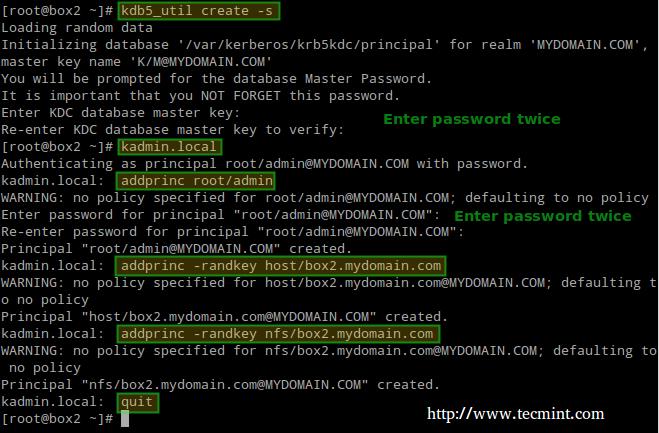 添加 Kerberos 到 NFS 服务器