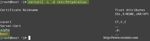 列出 Apache NSS 证书