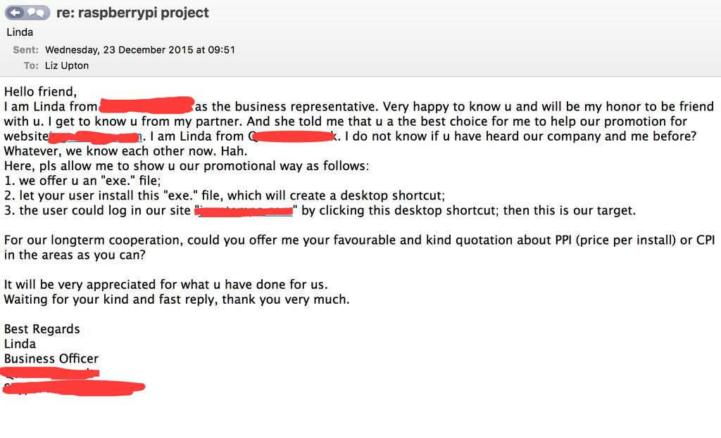 试图让树莓派预装恶意软件的邮件