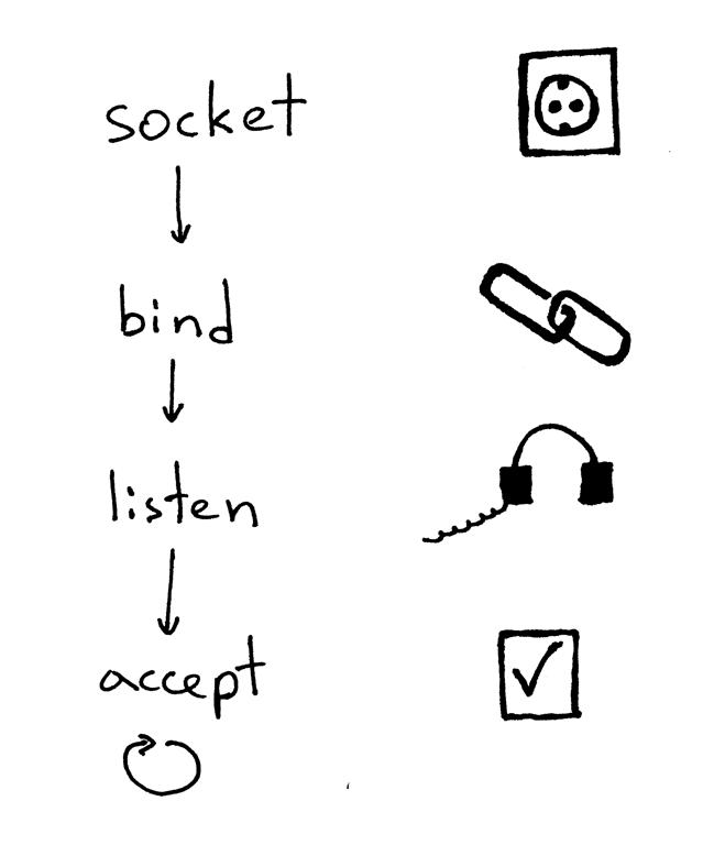 服务器创建套接字并开始接受客户端连接的标准流程