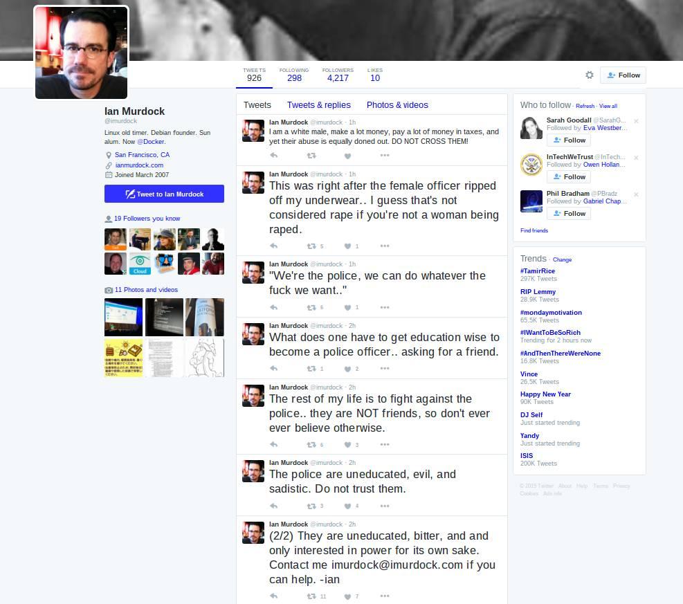 Ian Murdock 生前发的一系列推文