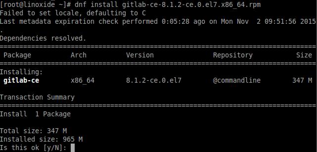 Installing Gitlab Fedora
