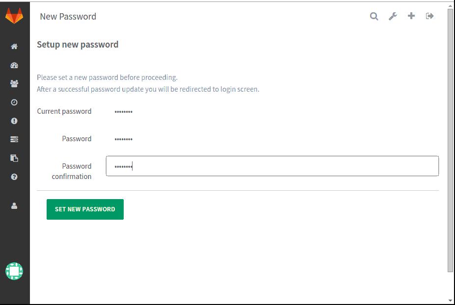 Setting New Password Gitlab