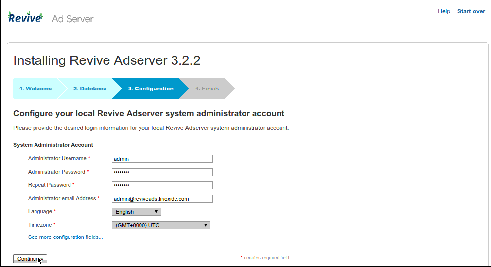 Configuring Revive Adserver