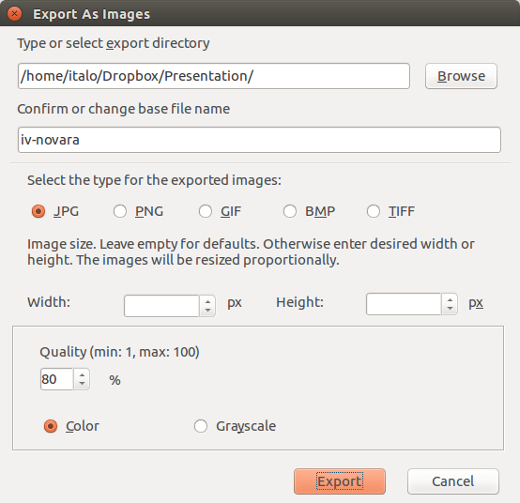 Export as images extension