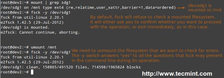 Scan Linux Filesystem for Errors