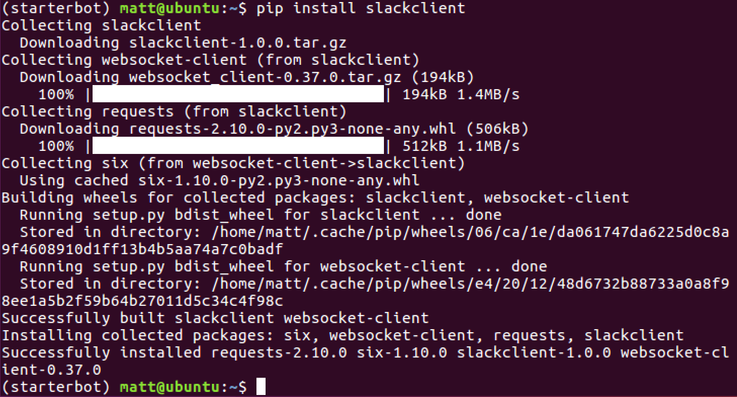在已经激活的 virtualenv 用 pip 安装 slackclient 的输出