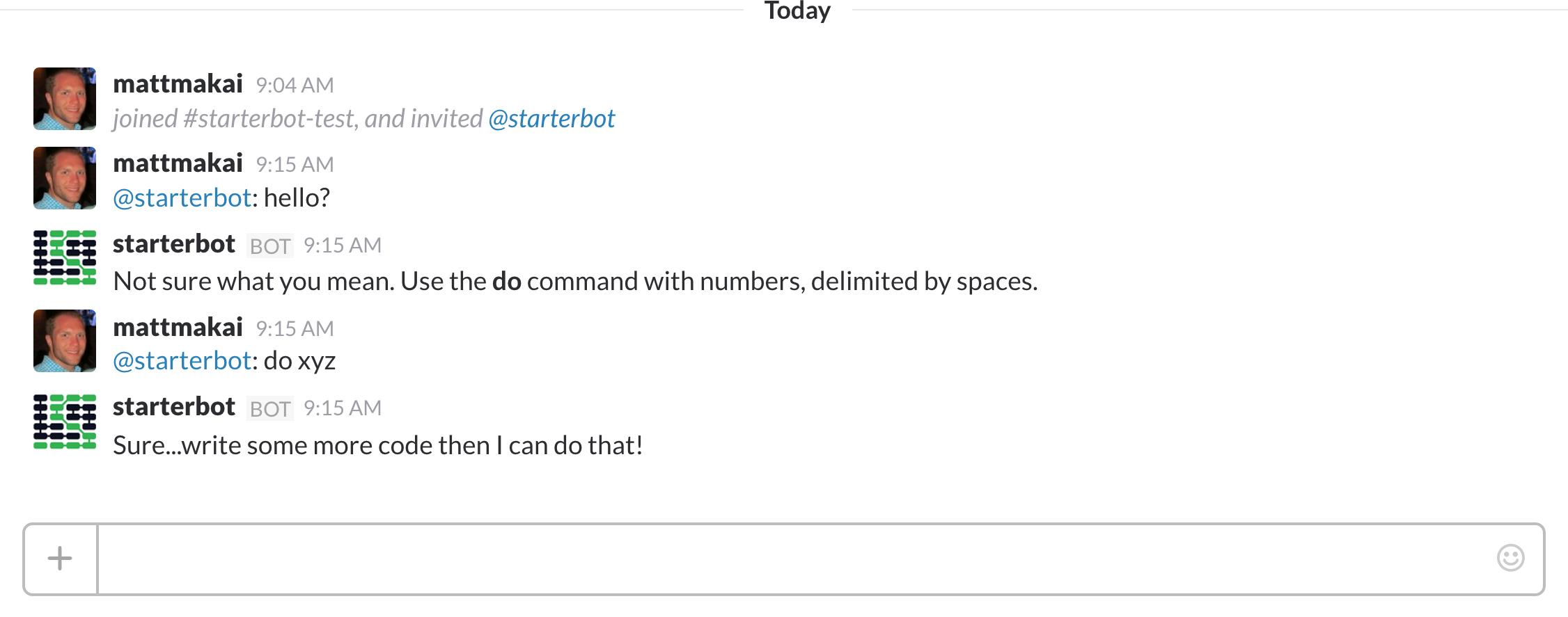 在你的 Slack 通道里给你的 StarterBot 发命令