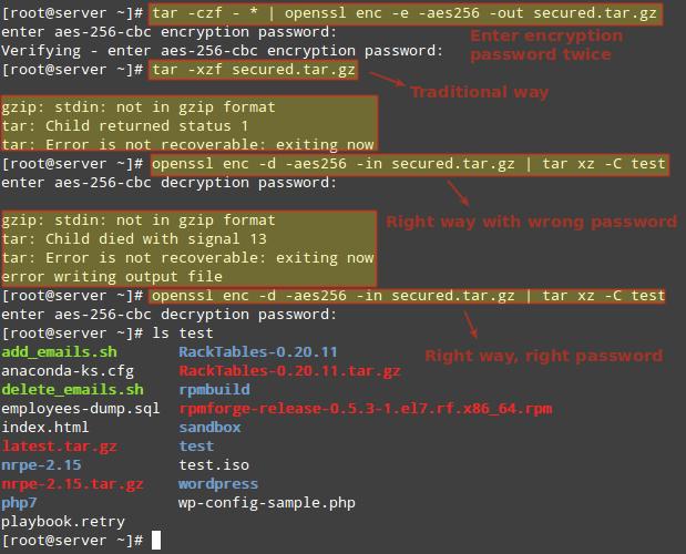 在 Linux 中加密和解密 Tar 归档文件