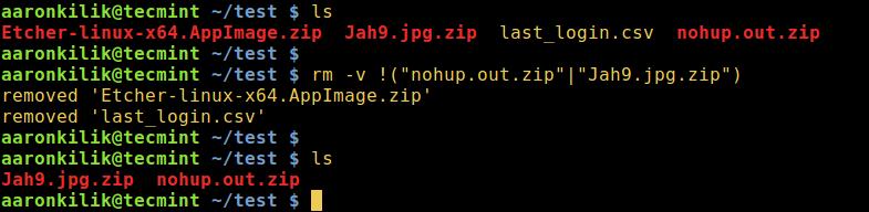 在 Linux 下删除除了一些文件之外的所有文件