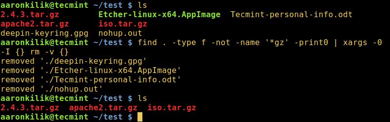 使用 find 和 xargs 命令删除文件