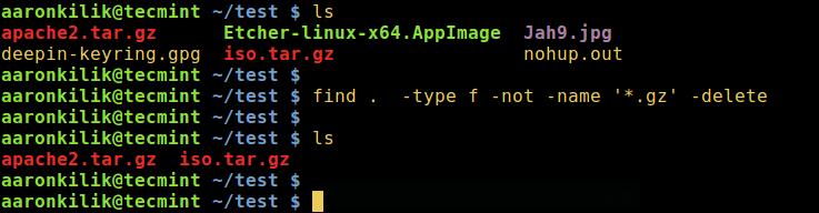 find 命令 —— 删除 .gz 之外的所有文件