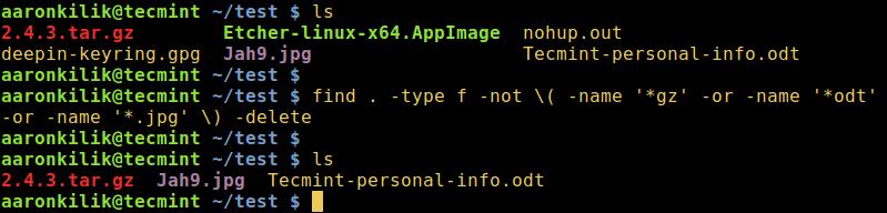删除除了指定扩展文件的所有文件