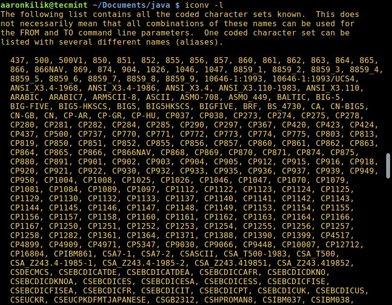 列出所有已有编码字符集