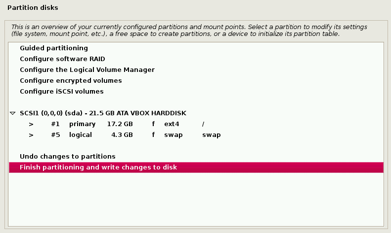 Confirm Disk Partition Write Changes