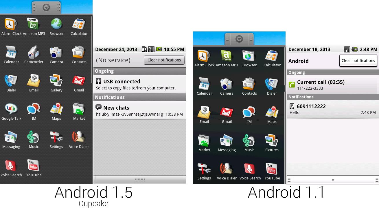 1.5和1.1中的应用程序界面和通知面板的对比。