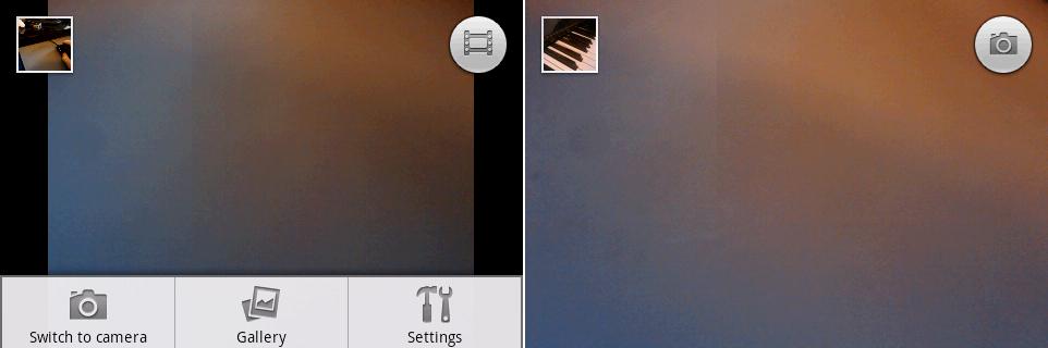 摄像机和相机界面,屏幕上有触摸快门。