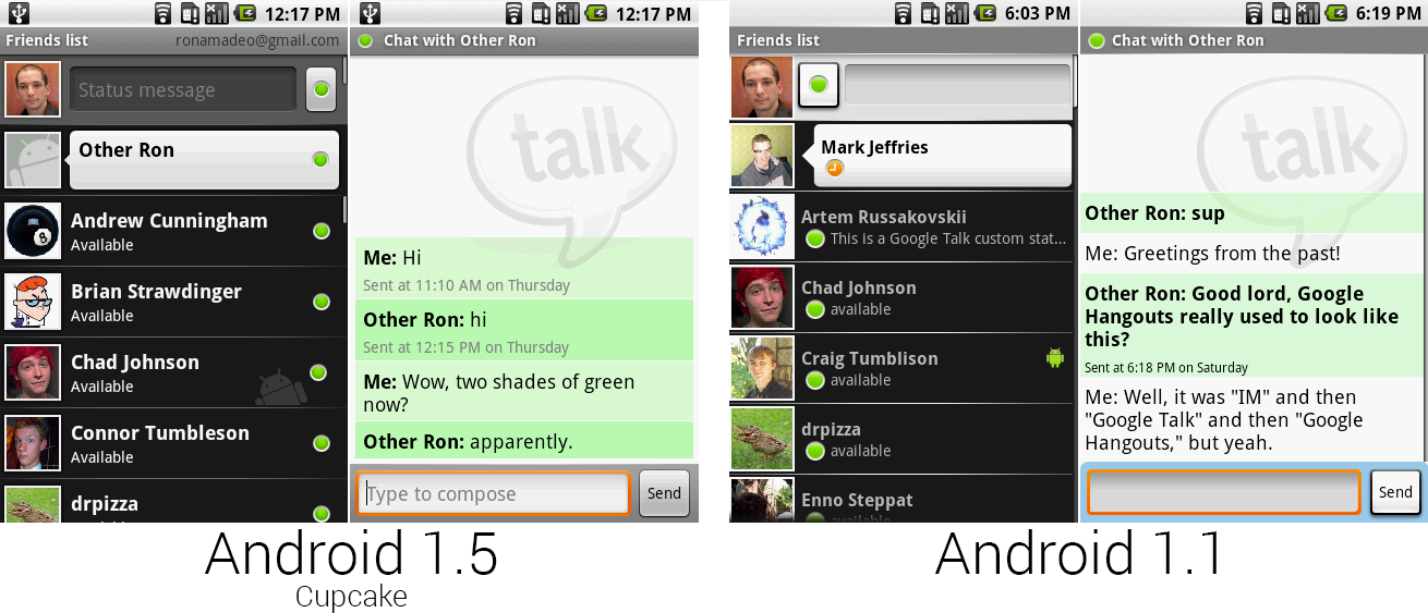Google Talk运行在Google Talk中vs运行在IM应用中。
