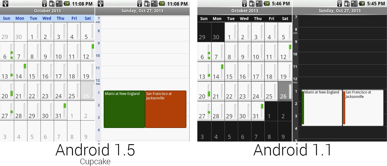 安卓1.5的日历更加明亮。